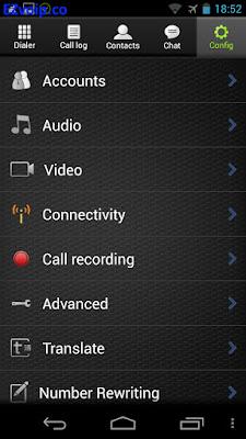 Zoiper Android Config menu