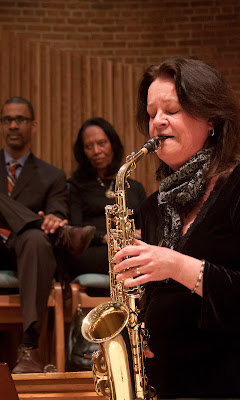 Debbie Johns of Englewood  playing sax.  Photos by TOM HART/  FREELANCE PHOTOGRAPHER.