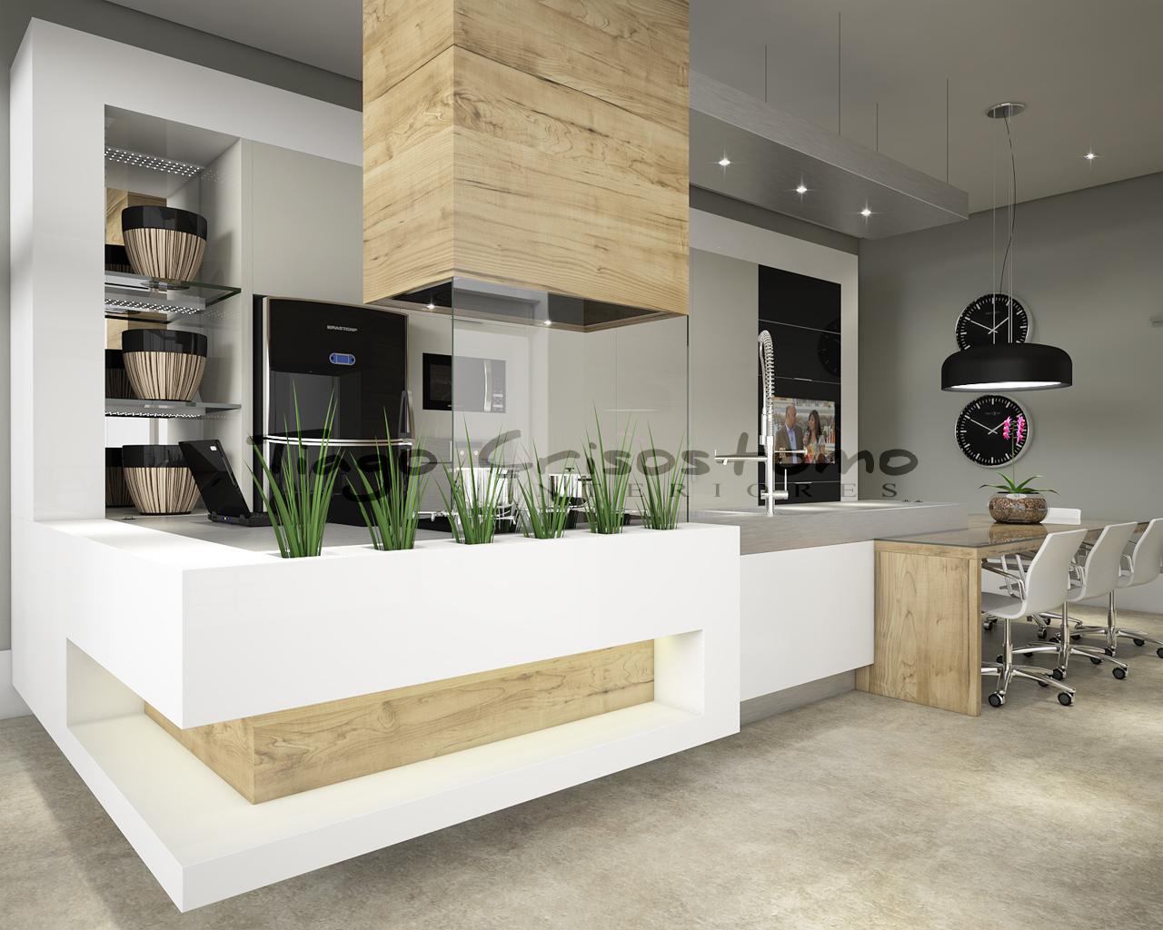 Projetos concluídos Cozinha em estilo italiano SketchUp Brasil #4B6134 1280 1024