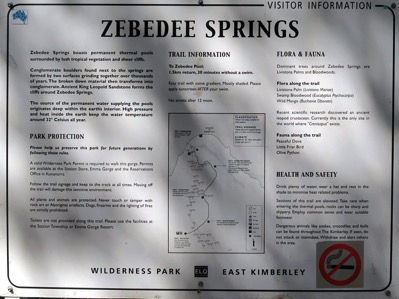 Zebedee Springs Sign