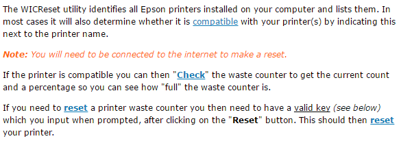 how Epson Color 1160 wic reset utility works
