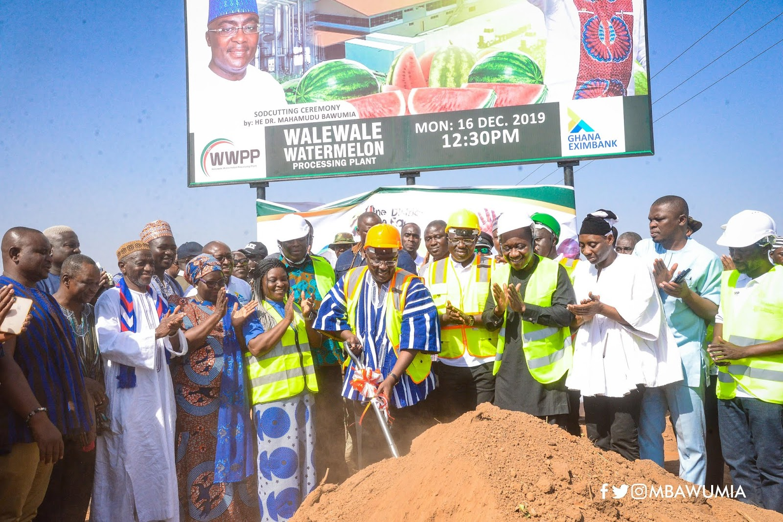Vice President Dr. Bawumia cut sod for works to begin on the construction of a Watermelon Processing Factory at Walewale in the North East Region of Ghana - Richkid Empire Music
