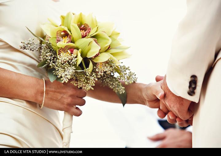 Green cymbidium orchid wedding bouquet