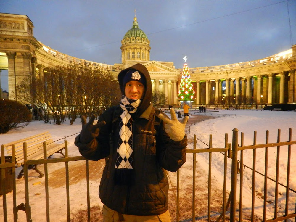 Outside the very non-church-looking Kazan Cathedral, which is actually a working mega-church in the center of the city...