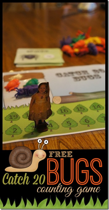 FREE Catch 20 Bugs Counting Game for Preschool, PreK, and Kindergarten age kids. This is such a fun, visual, hands on learning activity that help skids master those difficult numbers 11-19. LOW PREP! Great math games for homeschool, summer learning, or at home preschool.