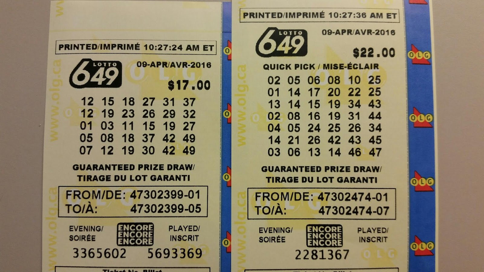Shannon's Group Lottery: Lotto 6/49 - April 9, 2016 - Apr ...