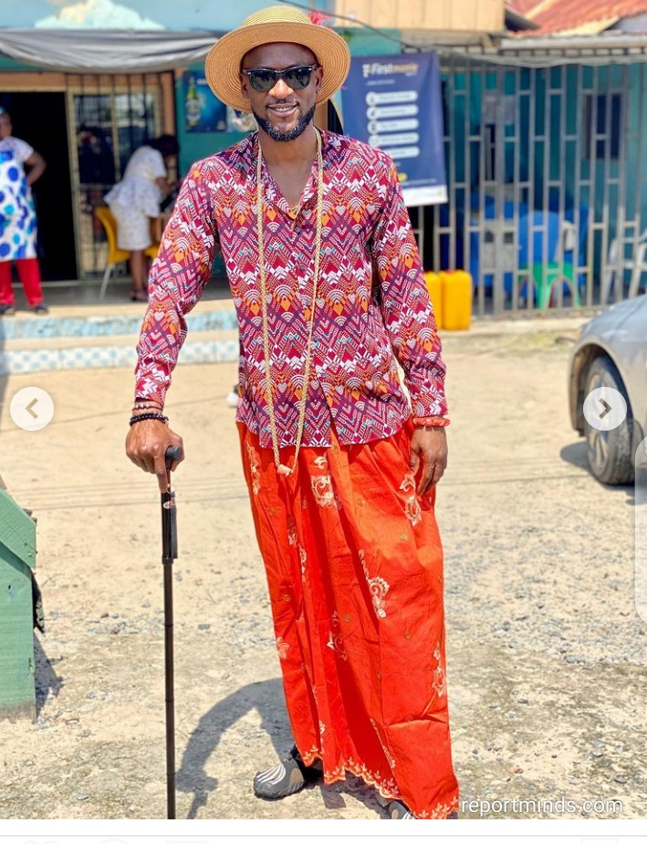 #BBNaija: Omashola proudly show off his 'Itsekiri' outfits (Photos)