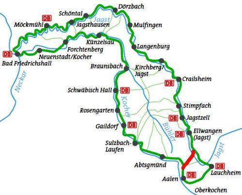 Karte Kocher-Jagst-Radweg
