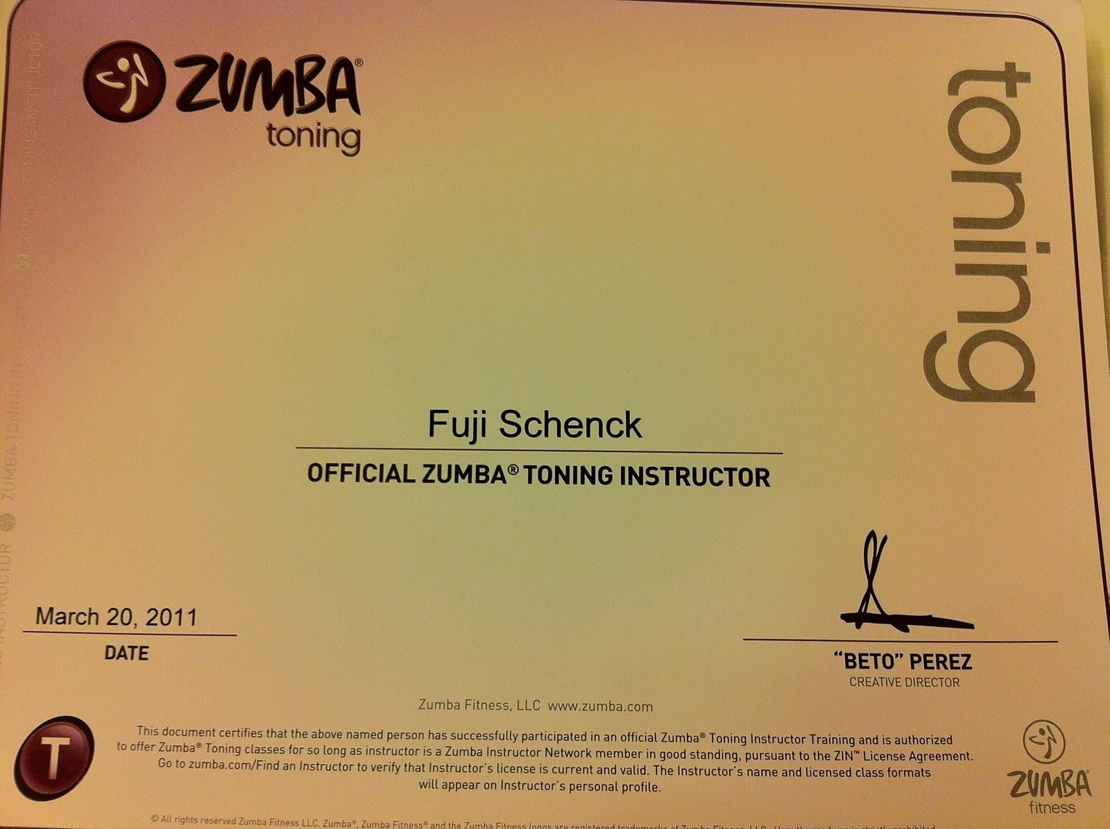 Foodie Fuji Zumba Toning Certification