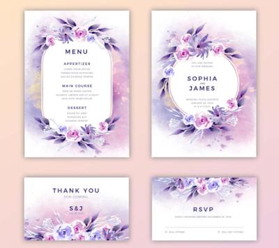 Membuat Undangan Pernikahan dengan Design Glossy Purple | Kaina Studios