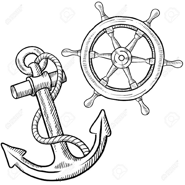 Anchor Doodle Style Ships Anchor And Wheel Illustration In Vector Format  Stock Photo