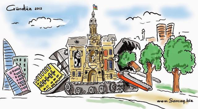 Les caricatures de la ville coups bas bakou for Les espaces verts en ville