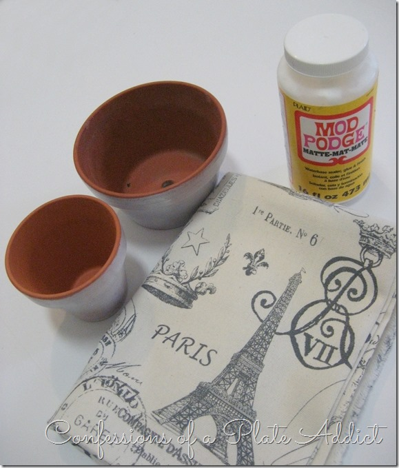 CONFESSIONS OF A PLATE ADDICT French Fabric Decoupage Pots supplies