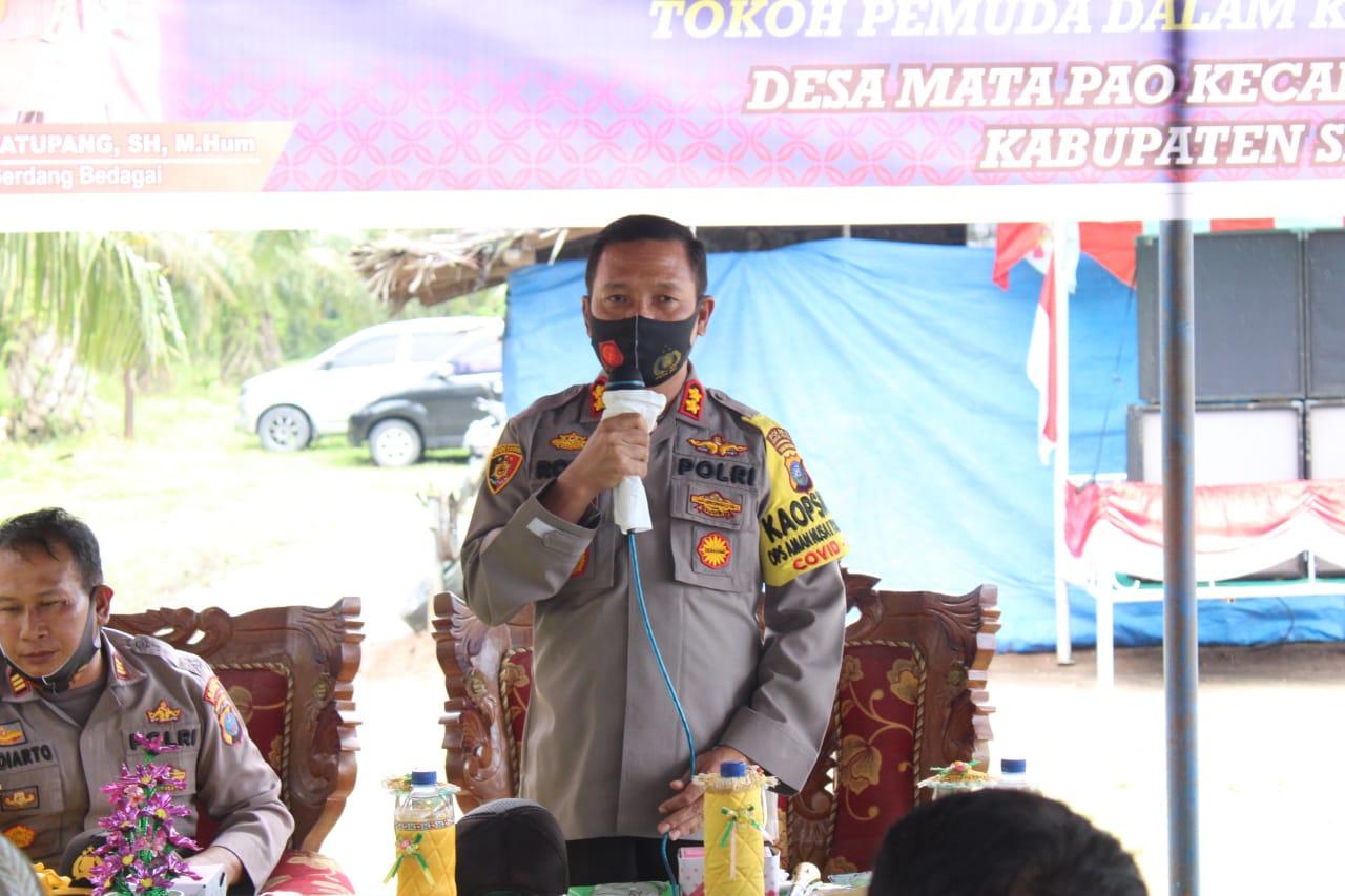Kapolres Serdang Bedagai Resmikan Desa Tangguh Di Desa Matapao Kecamatan Teluk Mengkudu