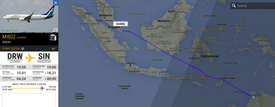 Route to Singapore