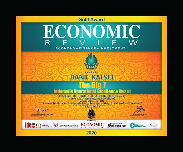 Mantap, Bank Kalsel Raih Indonesia Operational Excellence Award 2020 dari Economic Review
