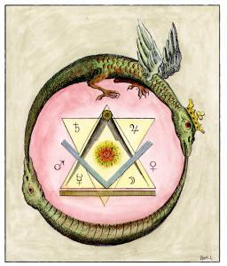 Engraving From Ic H Das Hermes Trimegists Leipsig 1782, Alchemical And Hermetic Emblems 1