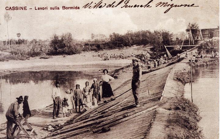 Lavori alla chiusa di sbarramento sul Bormida, funzionale alla captazione par il Canale Carlo Alberto.