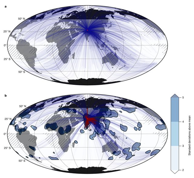 Teleconnection pattern for south-central Asia for events above the 95th percentile. For extreme rainfall events in Northern India (red diamond), the red lines show local weather patterns, and the blue lines show global patterns linking extreme rainfall events represented by the blue shapes. In particular, the blue shapes over Europe indicate that extreme rainfall in Northern India can be predicted from preceding events in Europe. Graphic: Boers, et al., 2019 / Nature