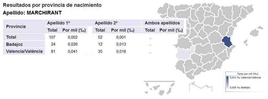 Frecuencia del apellido Marchirant en España.
