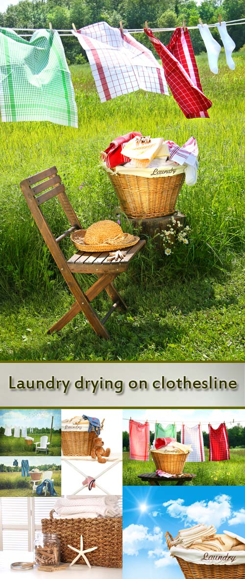 Stock Photo: Laundry drying on clothesline