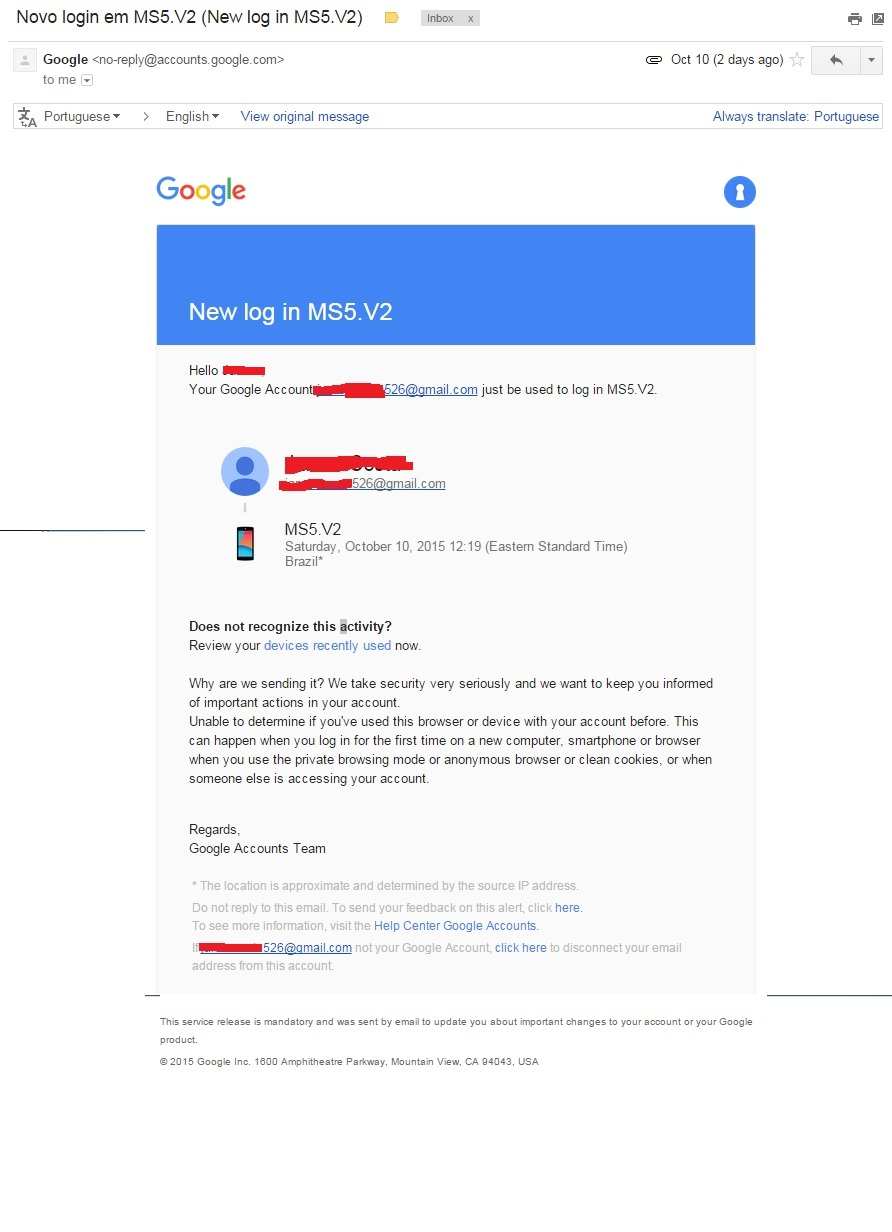 Login Notification from a different e-mail address ? - Gmail