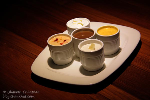 5 dips that came with the Cigar Rolls — Parma, Chili Mustard, Cheese Chipotle, Wine Gravy, Creme de Chive Lemon