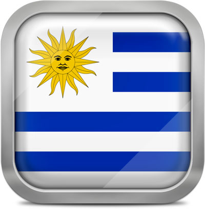 Uruguay square flag with metallic frame