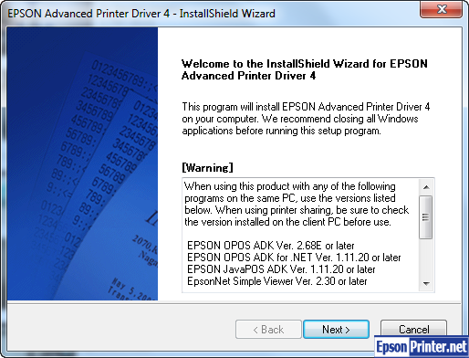 Follow the installation wizard to completed install Epson XP-850 inkjet printer driver