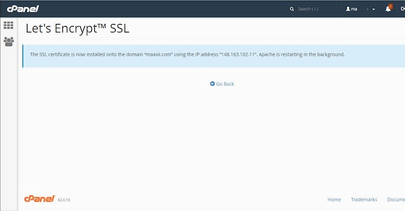 SSL Percuma Let's Encrypt Installed