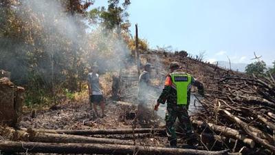 Personel Koramil Ledo Cek ke Lokasi Titik Api