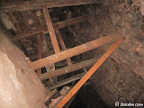 Some interesting timbering with a work floor in the stope above us.