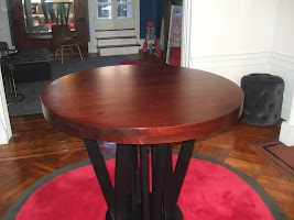 42″ Diameter, Helsinki Dining Table in Frontier Oak with Midnight Oak Base