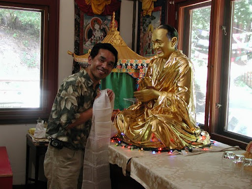 Gelek with Lama Yeshe statue at Vajrapani Institute, California, USA