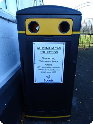 Wistaston Scout Group - aluminium can collection bin