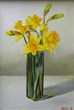 żonkile, olej, płótno, 35x50 cm