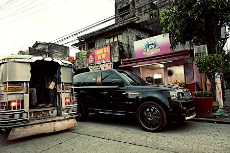 Land Rover and a Jeepney