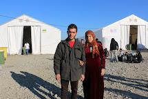 Záchytný tábor pro uprchlíky v makedonské Gevgeliji na hranici s Řeckem
