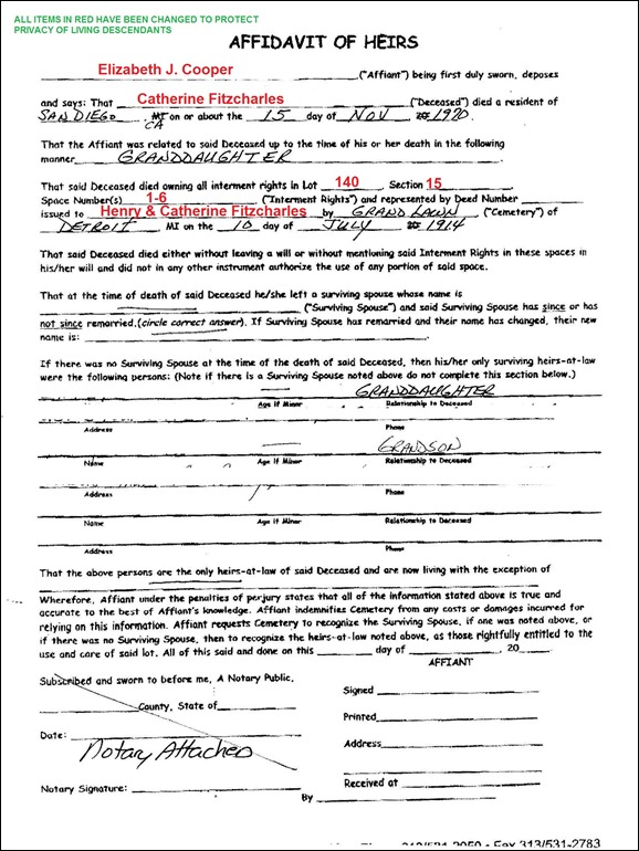 GOULD_Affidavit of Heirs_GrandLawn Cem_Detroit Michigan_Section 5_Page_1