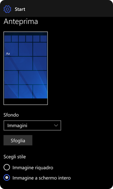 windows 10 mobile schermata atart