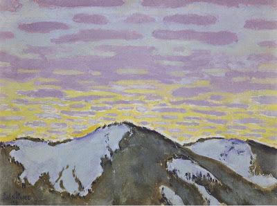 Koloman Moser - Berggipfel mit farbigen Wolken - 1913