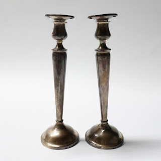 """10"""" Sterling Silver Candlestick Pair"""