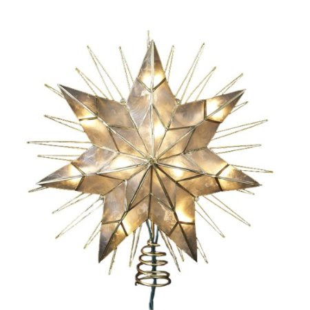 Kurt Adler 14-Inch 7-Point Natural Capiz Star Lighted Treetop