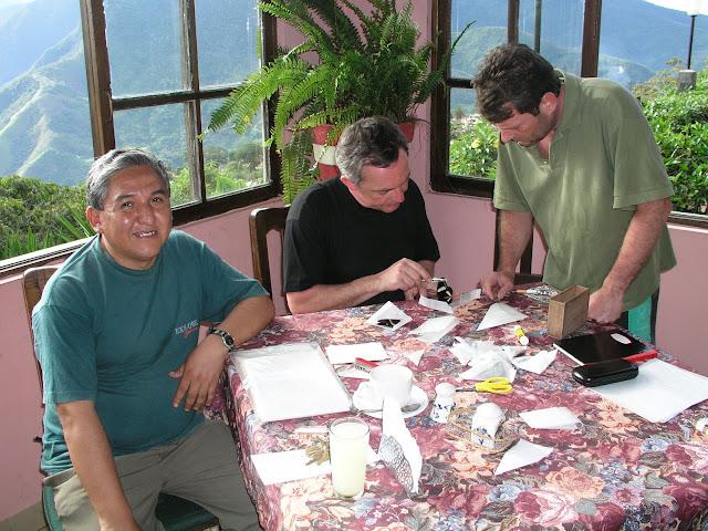Henrik Bloch (à droite) étudiant un Papilio aristeus lenaeus DOUBLEDAY, 1846. Hotel Esmeralda (1800 m), Coroico (Bolivie), 10 janvier 2004. Photo : J. F. Christensen