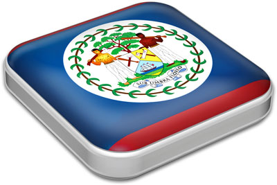 Flag of Belize with metallic square frame