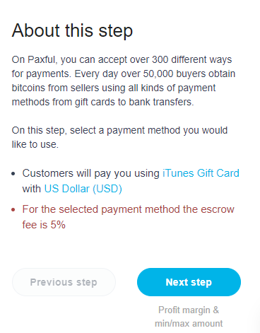 Paxful vendor step 5