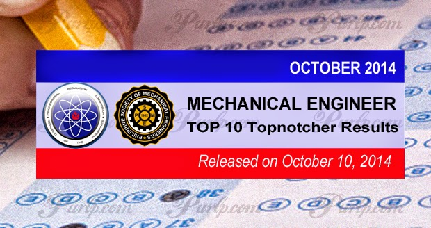 Top 10 October 2014 Mechanical Engr. licensure exam results