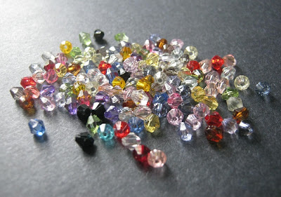 Multicolored Faux Crystal Bicone Beads
