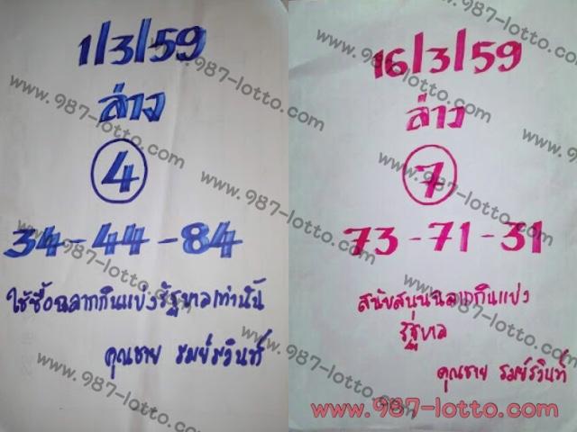 เลขเด็ด คุณชายรมย์รวินท์ งวดวันที่ 16 มีนาคม 2559