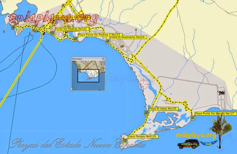Mapa de Playas del sector Punta de Piedras